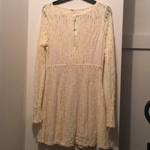 Free People Shearling Cream Lace Dress NWT M